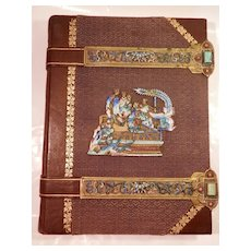 19Th Century Leather Bound Journal w/ Enamel and Brass Trim...