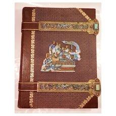 19Th Century Leather Bound Journal w/ Enamel and Brass Trim...
