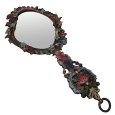 19th Century Miniature Vanity Mirror with Champleve Enamel Frame...