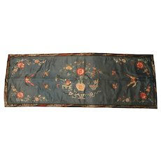 Oriental Embroidered Silk Runner..