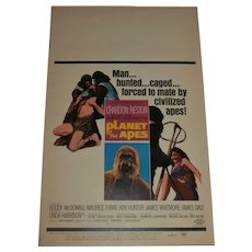 1968 Planet of the Apes Window Card/Movie Poster..