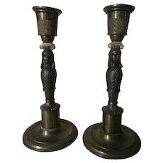 Egyptian Revival  Bronze Candle Holders....Early 20th Century...