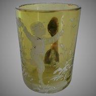Miniature Mary Gregory Glass Mug...