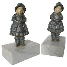 J. B. Hirsch Cast Metal Bookends, Girls with Celluloid Faces...