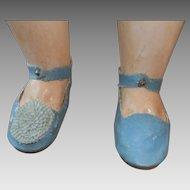 Antique shoes blue laether
