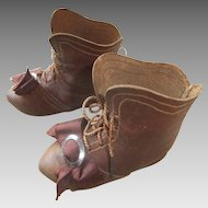 Fabulous  Antique French Leather Doll Boots