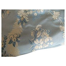 Antique blue and white silk print