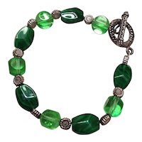 Green and Silver Tone Beaded Bracelet