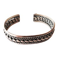 Braided Silver Tone Bangle Bracelet