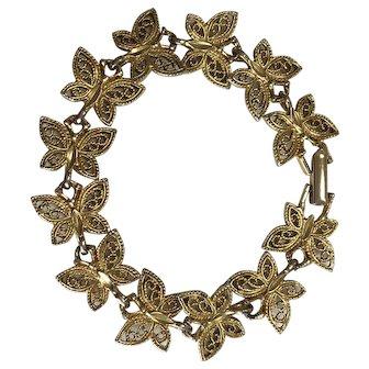 Vintage Bracelet of Gold Tone Butterflies