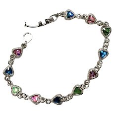 Vintage Bracelet with Multi-Colored Heart Shaped Stones