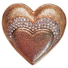 Vintage Gold Tone Heart Pin with Rhinestones