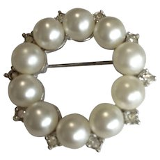 Faux Pearl and Rhinestone Circle Pin by Marvella