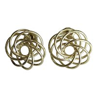 Vintage Gold Tone Swirl Earrings – Screw-back