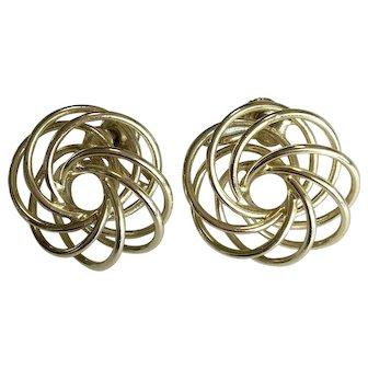 Vintage Gold Tone Swirl Earrings – Screw-back