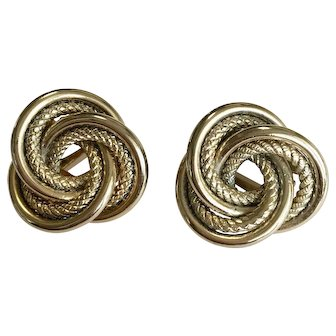 Vintage Gold Tone Intertwine Design Earrings – Clip-back