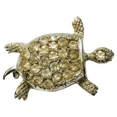 Silver Tone Turtle Pin with White Stones
