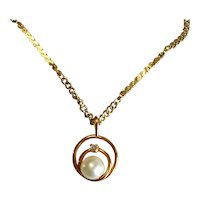 Dainty Vintage Faux Pearl and Rhinestone Gold Tone Pendant and Chain