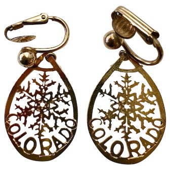 Vintage Gold Tone Earrings, Perfect for Colorado Lovers– Clip-back