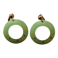 Vintage Circle Earrings - Green Enamel - Clip-back