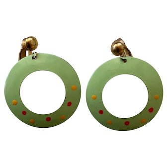Vintage Circle Earrings - Green Enamel - Clip-back
