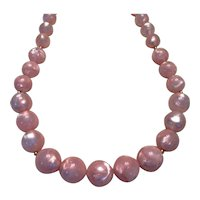 Vintage Pale Pink Beaded Necklace by Monet