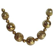 Vintage Gold Toned Beaded Necklace