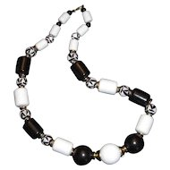 Vintage Black & White Beaded Necklace