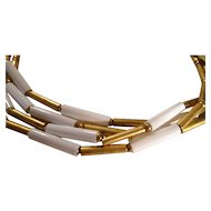 White and Gold Tone Triple Strand Necklace