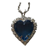 Beautiful Titanic-style Blue Heart and Rhinestone Necklace