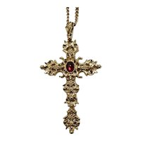 Large Gold Tone Crucifix on Long Chain