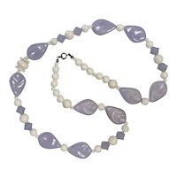Lavender and Cream Color Beaded Necklace
