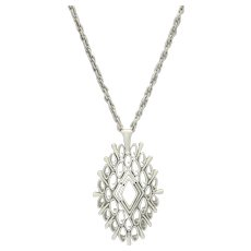 Large White Filigree Pendant on White Chain Necklace