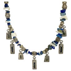 Silver Tone Beaded Necklace with Cobalt Blue Beads and Pendants-adjustable length