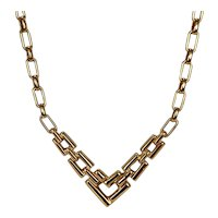 Contemporary Design Gold Tone Necklace