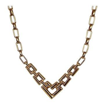 Contemporary Design Gold Tone Necklace