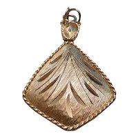 Vintage Diamond Shaped Gold Tone Pendant
