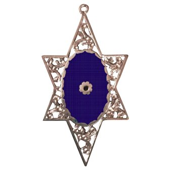 Beautiful 14 kt Vintage Star of David – Cobalt Blue Enamel