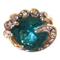 Fashion Travel Ring - Faux Emerald and Rhinestone