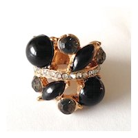 Vintage Ring – Black Stones and Clear Rhinestones in Gold Tone
