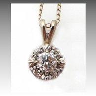 Fine Vintage Diamond and 14K White Gold Pendant