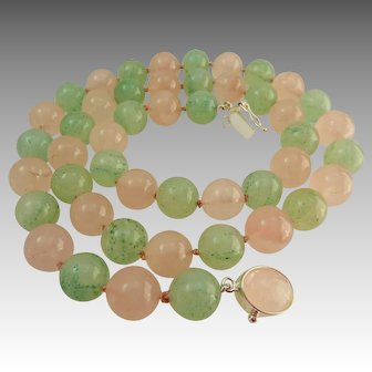 Rose Pink Quartz and Jade Bead Necklace, Sterling Clasp