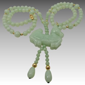 Light Green Jade Bead Necklace With Carved Horse 14K Clasp