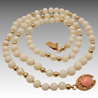 Angel Skin Coral, Cultured Pearl & Gold Filled Bead Necklace - Vermeil Clasp