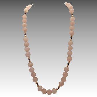 Rose quartz:garnet:pink:sterling clasp:beaded:gold filled