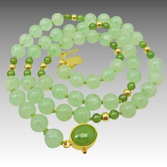 Vintage Pale and Dark Green Jade & Gold Bead Necklace