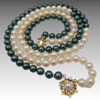Black & White Cultured Pearl Necklace 14K Clasp