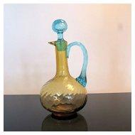 Antique Amber and Turquoise Reverse Swirl Art Glass Cruet w/Stopper