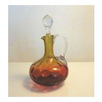 Antique Reverse Amberina Inverted Honeycomb Art Glass Cruet