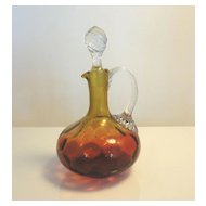 Antique Reverse Amberina Inverted Honeycomb Art Glass Cruet
